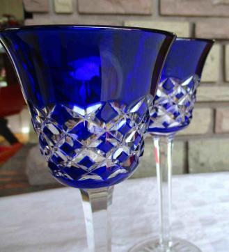 Cristal bleu cobalt overlay baccarat