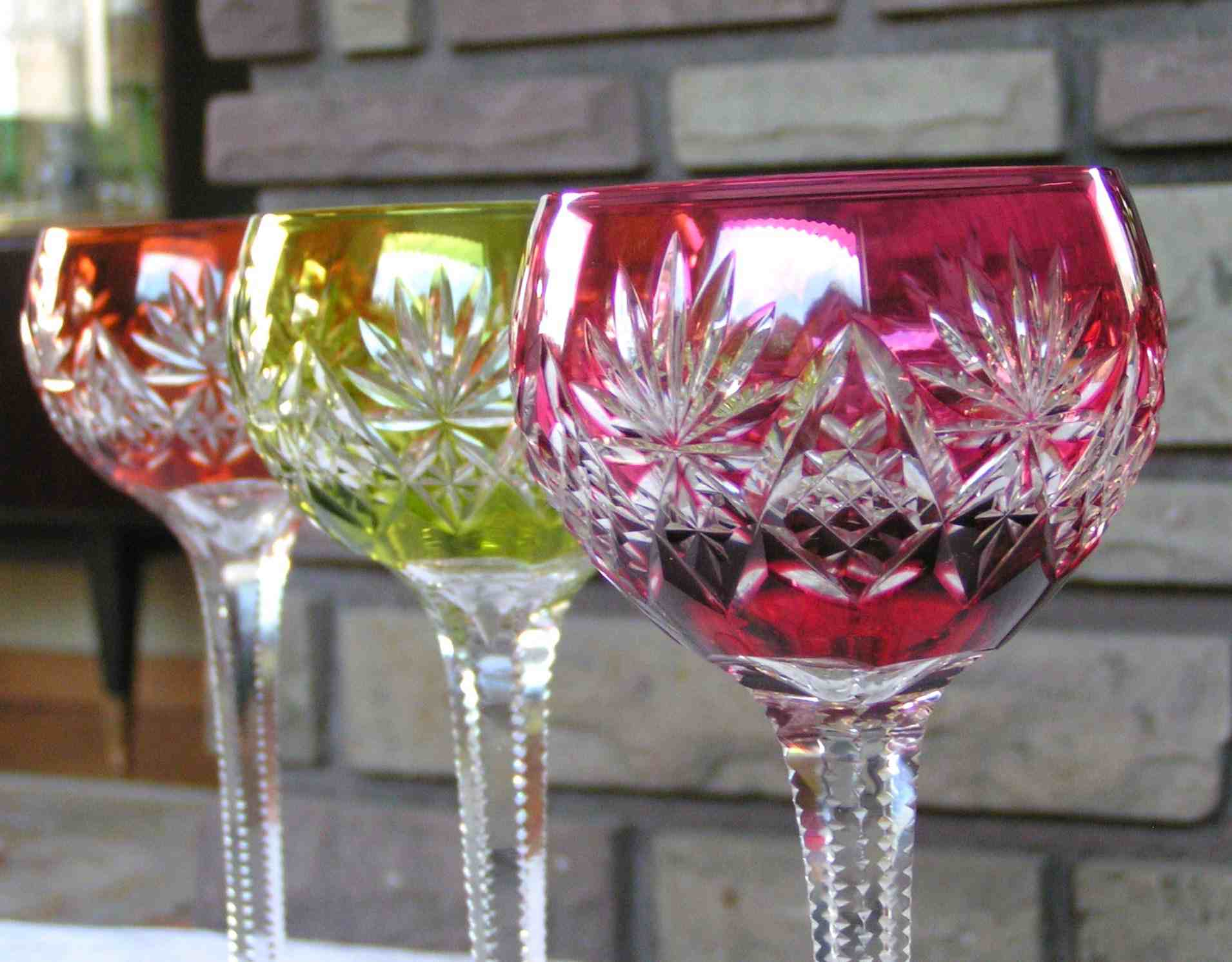 Verre cristal de Saint Louis, service à vin du Rhin