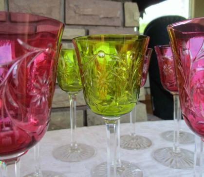 Verres de couleurs baccarat cristal