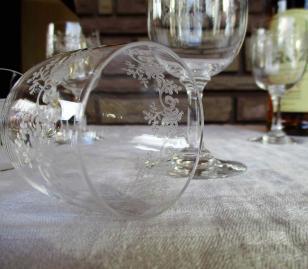 Verres porto gravure ancienne cristal
