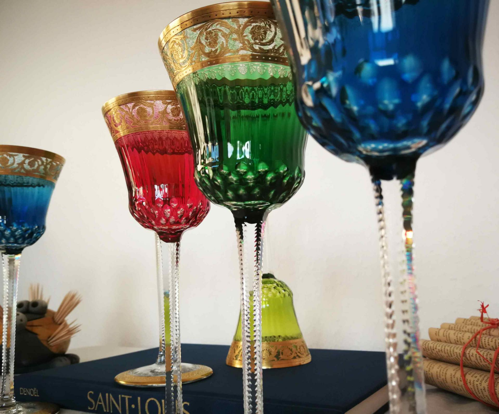 verres de couleurs-roemers-occasion-cristal