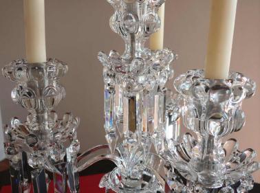 Cristal ancien bambous et medaillons baccarat