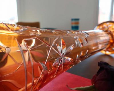 Cristal overlay orange baccarat vase