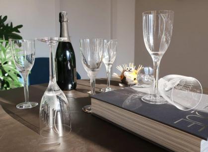 Crystal glasses champagne france tableware