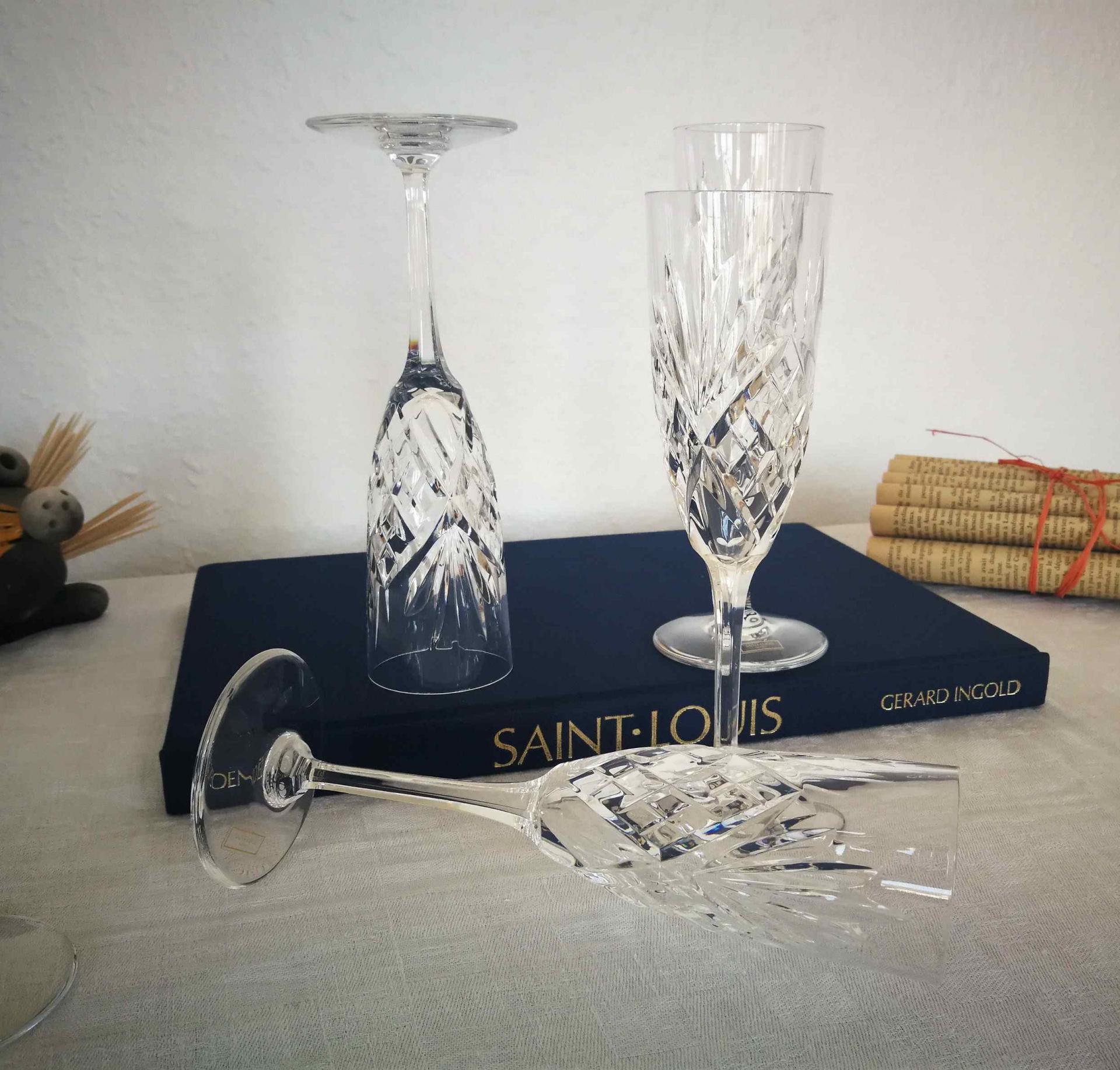 Flûtes à champagne Chantilly. Saint Louis cristal