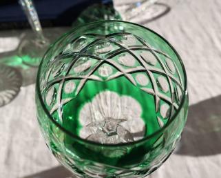 Verre overlay cristal double couleurs